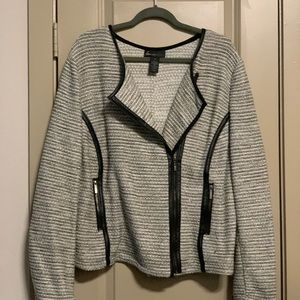 Lane Bryant Jackets & Coats - Grey and black jacket with faux leather trim